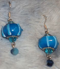 Blue Stripes!  Blue Stripe Glass Bead accented with BiColor Blue Swarovski Crystal Dangle and Blue Glass Faceted Bead Drop Earrings by JewelryByTracyO on Etsy