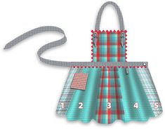 Fat Quarters Plaid Apron in Moda& Wee Wovens Brights Sewing Aprons, Sewing Clothes, Sewing Patterns Free, Free Pattern, Apron Patterns, Clothing Patterns, Dress Patterns, Child Apron Pattern, Plaid Apron
