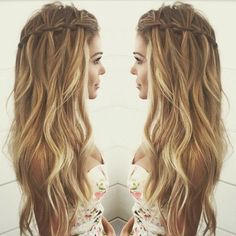 Balayage Wavy hair with Waterfall Braid Hairstyles - Casual Summer Hair Styles for Long Hair wasserfall, 10 Pretty Waterfall French Braid Hairstyles 2020 French Braid Hairstyles, Wedding Hairstyles, French Braids, Casual Hairstyles For Long Hair, Trendy Hair, Holiday Hairstyles, Bridesmaids Hairstyles, Evening Hairstyles, Dutch Braids