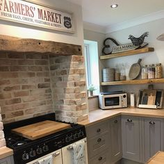 One of my favourites rooms in the house, I love all the bits I have collected over the years. We bought the book case when we first moved… Cosy Kitchen, Barn Kitchen, Kitchen Family Rooms, Farmhouse Kitchen Decor, Country Kitchen, New Kitchen, Kitchen Dining, Cottage Kitchens, Home Kitchens