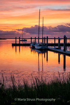 Sunset at the Harbor Marina in downtown Fernandina Beach, Florida