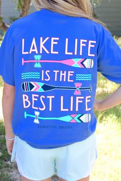 """NEW NEW NEW!!! """"Lake Like is the Best Life"""" - on this BEAUTIFUL blue shirt! One of our faves for the summer! Get yours now online at WWW.JADELYNNBROOKE.COM"""