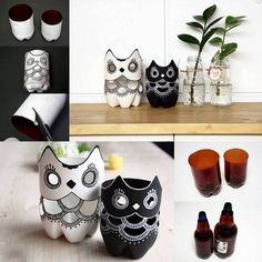 (via How to make DIY plastic bottle owl lamp step by step tutorial instructions Reuse Plastic Bottles, Plastic Bottle Crafts, Recycled Bottles, Cool Art Projects, Craft Projects, Craft Ideas, Decor Ideas, Diy Ideas, Owl Crafts