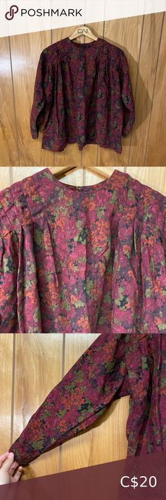 """Vintage Norma Peterson Floral Blouse Such a cute blouse! If I had to describe the fabric, it would be a linen type fabric. Size: S/M Shoulder to shoulder: 21"""" Pit to pit: 24"""" Length: 24.5"""" Sleeve length: 18"""" Vintage Tops Blouses White Blouse With Bow, Blue And White Blouses, Blouse Vintage, Vintage Tops, Animal Print Blouse, Cute Blouses, Short Sleeve Button Up, Blouse Patterns, Embroidered Blouse"""