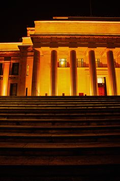 Auckland Museum at night.   Regal and beautiful.