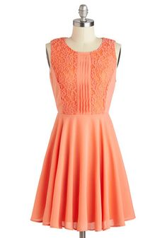Apricot Dahlia Dress - Mid-length, Orange, Solid, Lace, Pleats, Party, A-line, Sleeveless, Scoop, Wedding