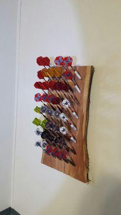 Cedar plank dart holder. We love playing darts!