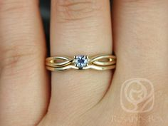 Ultra Petite Erika 3.5mm 14kt Yellow Gold Round Blue by RosadosBox