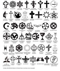 Officially Approved Government Headstone Religious Symbols, for Arlington National Cemetery and *all* National Cemeteries - while majority are going to be the basic Christian cross or Star of David, this does take into account the many different religions Spiritual Symbols, Religious Symbols, Ancient Symbols, Occult Symbols, Religious Rituals, Religions Du Monde, World Religions, Symbole Tattoo, Freedom Of Religion