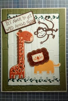 Baby shower invitation. CTMH stamp set #C1558, Wild Wonders Occasions & CTMH Artbooking Cricut Cartridge. Animal card, lion, giraffe, monkey. Can also be used as a birthday card, baby announcement and new baby congrats card.