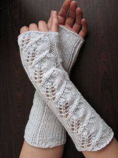 Long Fingerless Gloves Mittens white light azure by Initasworks, $42.00