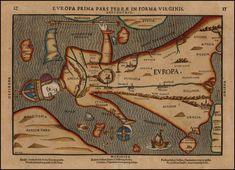 1582 Map of Europe shaped as a virgin