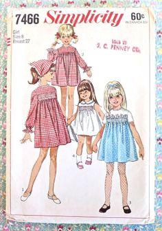 Simplicity 7466  Vintage 1960s Girls Yoked Dress by Fragolina
