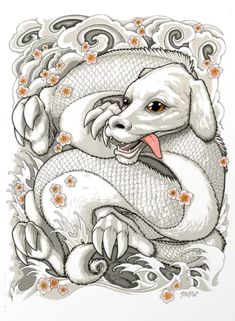 An enchanting fan art print based on Falcor the dragon dog from the world of Never Ending Story By stef-w. Ending Story, Dragon Artwork, Fantasy Dragon, Irezumi, Vintage Valentines, Comforters, Fan Art, Art Prints, Drawings