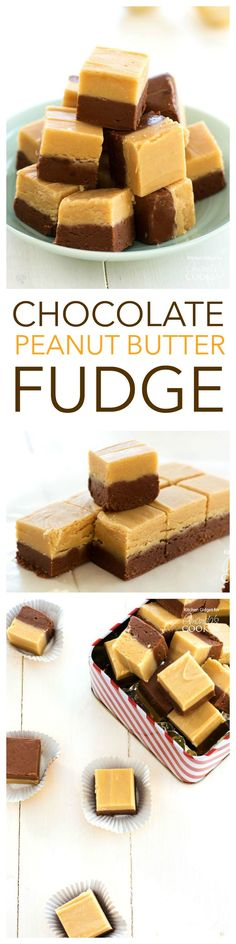 CHOCOLATE PEANUT BUTTER FUDGE - get the easy recipe for chocolate peanut butter fudge. Perfect for making edible gifts, serving to guests, or just making for your own family. Delicious for any chocolate and/or peanut butter fan!