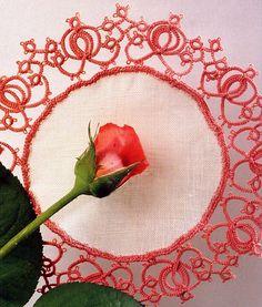 салфетка розовое кружево