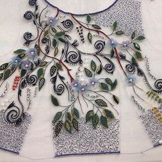 Wonderful Ribbon Embroidery Flowers by Hand Ideas. Enchanting Ribbon Embroidery Flowers by Hand Ideas. Bead Embroidery Patterns, Tambour Embroidery, Embroidery On Clothes, Couture Embroidery, Embroidery Fashion, Silk Ribbon Embroidery, Hand Embroidery Designs, Embroidery Dress, Beaded Embroidery