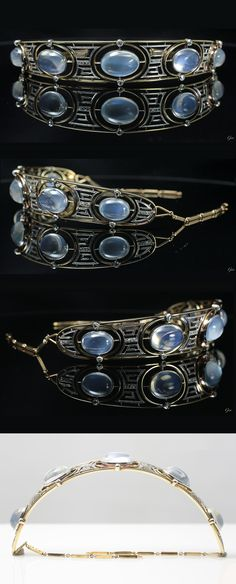 An Edwardian platinum, 18k gold, moonstone and diamond tiara, English, about 1900. #Edwardian #antique #tiara