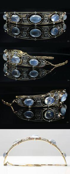 An Edwardian platinum, 18k gold, moonstone and diamond tiara, English, about 1900. #Edwardian #antique #tiara