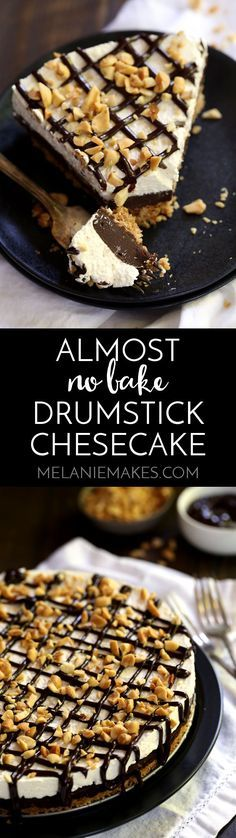 My Almost No Bake Drumstick cheesecake is a delicious take on a childhood favorite. A waffle cone crust is layered with chocolate ganache and no bake cheesecake before being drizzled with even more chocolate and chopped peanuts. The crust bakes for 10 minutes while the rest of this sweet treat sets up in the fridge.