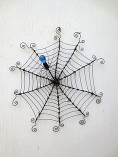 """24""""  Barbed Wire Spiderweb With Blue Glass Spider Upcycled Art Made To Order"""