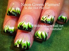 No Water Marble with Handpainted accents make for a perfect rainbow springtime mani! (Nail-art by Robin Moses) Neon Nail Art, Nail Art Diy, Black Nail Designs, Nail Art Designs, Hot Nails, Hair And Nails, Flame Nail Art, Design Youtube, Robin Moses