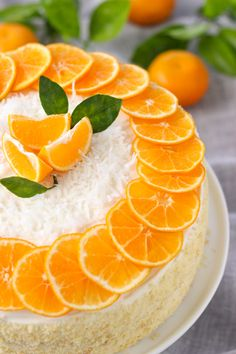 Mandarin Orange Cake, any orange or clementine may be used seedless makes for prettier decoration