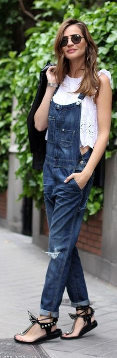 Denim And Broderie Casual Streetstyle by LadyAddict