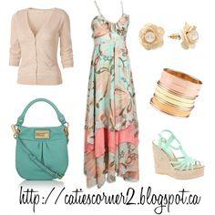 """Aqua & Peach Maxi Dress"" by catiescorner on Polyvore"