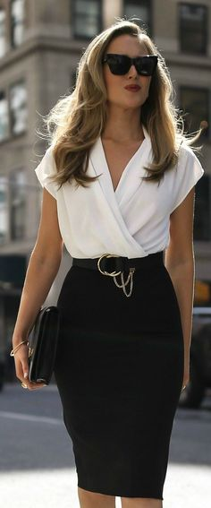 What to Wear for an Interview // Black and white color block short sleeve knee length shift dress, black cat eye sunglasses, classic black pumps, resume envelope clutch, black waist belt {Mango, Chloe, Manolo Blahnik, classic style workwear}