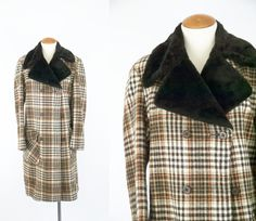 Vintage 70's Plaid Wool Coat // Double Breasted by TingleVintage