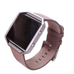 Fitbit Blaze Replacement Band,DAYJOY Elegant Design Genuine Leather Watch Strap Adjustbable Wrist Band for Fitbit Blaze(BROWN,LARGE SIZE)