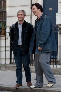 I love this picture of Benedict and Martin, obviously having a wonderful time during a break from filming Sherlock.
