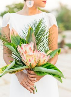 Wedding Bouquet Elegant Tropical Wedding Inspiration in Malibu - Inspired By This - If we're being honest, this elegant tropical wedding inspiration has left us speechless! It's California cool meets tropical paradise - it's pretty perfect. Tropical Wedding Bouquets, Tropical Flowers, Floral Wedding, Wedding Flowers, Tropical Weddings, Rustic Wedding, Tropical Flower Arrangements, Tropical Beaches, Elegant Wedding