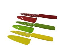 Kuhn Rikon Colori Art Paring Knife, Red/Green/Yellow Polka Dot, Set of 3 Prep Kitchen, Kitchen Tools, Kitchen Items, Kitchen Stuff, Kitchen Sink, Safety Cover, Kitchen Knives And Cutlery, Power Hand Tools, Red Green Yellow