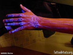 Blacklight skeleton tattoo @Hillary Burr