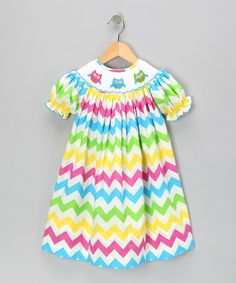 Take a look at this Rainbow Zigzag Bishop Dress - Infant, Toddler & Girls by Marjorie's Daughter on #zulily today!