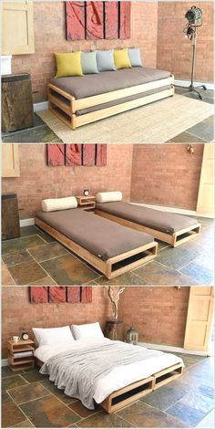 Southern Home Interior Cama gemela para la finca Pallet Furniture, Home Furniture, Furniture Design, Smart Furniture, Furniture Ideas, Sofa Bed Design, Multipurpose Furniture, Bedroom Furniture, Modular Furniture