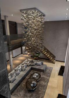 Luxus-Residenz Innenarchitektur Pendelleuchten Sofa-set Effekt-Sofakissen