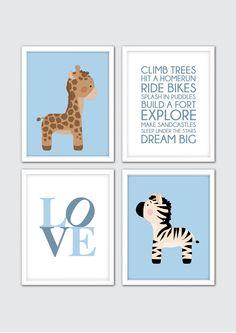 Baby Boy Nursery Art, Jungle Nursery Decor, Animals Wall Art Print, Baby Girl Room Decor, Baby Boy Nursery Quote, Giraffe Zebra Nursery Art by RomeCreations on Etsy