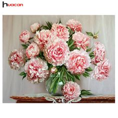 HUACAN Pink Peony in Vase Diamond Painting Cross Stitch Wedding Decor Holiday Gift Full Resin Diamond Embroidery Flower F1669 #Affiliate