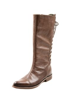 Laced-Up Back Gives this Basic Brown Boot a Stylish Twist! Cool Boots, Brown Boots, Leather And Lace, Fashion Boots, Me Too Shoes, Riding Boots, Girly Things, Shoe Bag, What To Wear