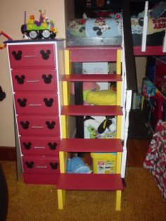 Love the ears on the drawers! Little Boy Bedroom Ideas, Boy Toddler Bedroom, Big Boy Bedrooms, Toddler Room Decor, Boy Room, Kids Bedroom, Kids Rooms, Mickey Mouse Room, Mickey Mouse Clubhouse