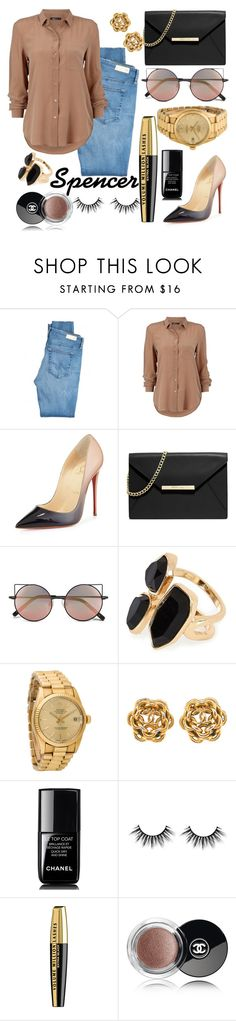 """""""Spencer Hastings #2"""" by pllpll ❤ liked on Polyvore featuring AG Adriano Goldschmied, Christian Louboutin, MICHAEL Michael Kors, Linda Farrow, River Island, Rolex, Chanel, L'Oréal Paris, PrettyLittleLiars and black"""