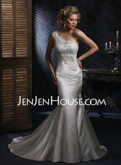 Wedding Dresses - $189.99 - Mermaid One-Shoulder Chapel Train Satin Wedding Dresses With Ruffle  Lace  Beadwork (002000683) http://jenjenhouse.com/Mermaid-One-shoulder-Chapel-Train-Satin-Wedding-Dresses-With-Ruffle--Lace--Beadwork-002000683-g683