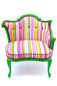 A creation of designer Kitty McBride. She is the owner of The Divine Chair. McBride pairs vintage chairs with cool fabrics creating a one of a kind piece of art.