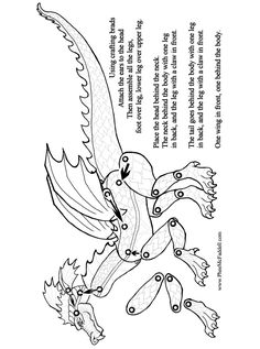Dragon Instructions Coloring and Craft Page Paper Puppets, Paper Toys, Sock Puppets, Coloring Books, Coloring Pages, Dragon Puppet, Paper Art, Paper Crafts, Dragon Crafts
