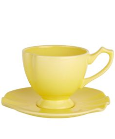 Yellow Curl Cup and Saucer   Earthenware from the Kitchen and Dining collection   Liberty.co.uk