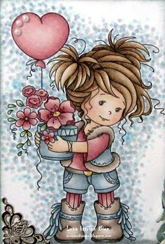 """I while ago I got this absolutely adorable digi at Club Tiets - Kaarten Maken Met Tiets ! This cutie is called """"Amy"""" , and are made b. Cartoon Drawings, Cute Drawings, Cute Images, Cute Pictures, Whimsy Stamps, Holly Hobbie, Decoupage Paper, Cute Illustration, Digital Stamps"""