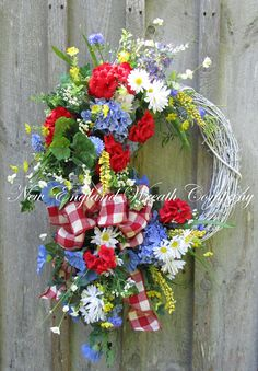 Summer Floral Wreath Summer Cottage Wreath 4th of July